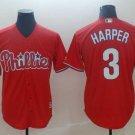 Men's Phillies 3 Bryce Harper Scarlet Embroidered Jersey