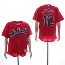 Men's Indians 12 Francisco Lindor Red Embroidered Jersey