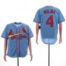 Men's Cardinals 4 Yadier Molina Light Blue Embroidered Jersey