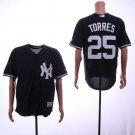 Men's Yankees 25 Gleyber Torres Black Embroidered Jersey