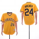 Men's Pirates 24 Chris Archer Gold Embroidered Jersey