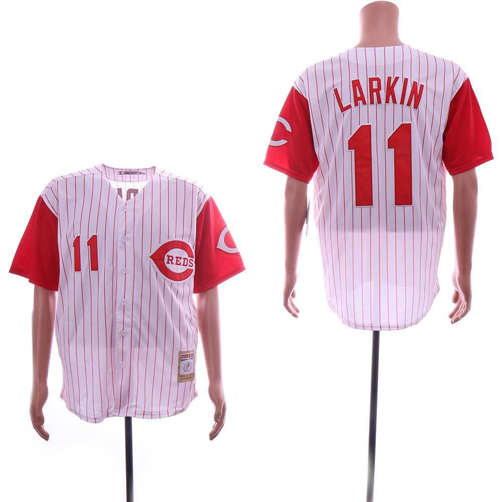Men's Reds 11 Barry Larkin White Throwback Embroidered Jersey
