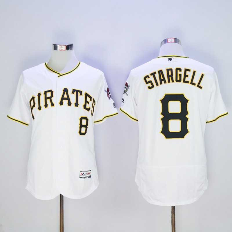Men's Pirates 8 Willie Stargell White Embroidered Jersey