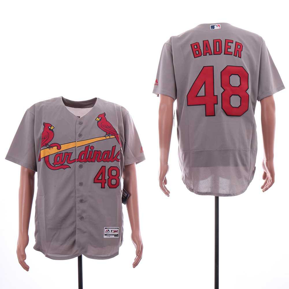 Men's Cardinals 48 Harrison Bader Gray Embroidered Jersey