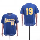 Men's Brewers 19 Robin Yount Royal Mesh Throwback Embroidered Jersey