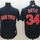 Men's Red Sox 34 David Ortiz Navy Embroidered Jersey