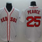 Men's Red Sox 25 Steve Pearce White Embroidered Jersey