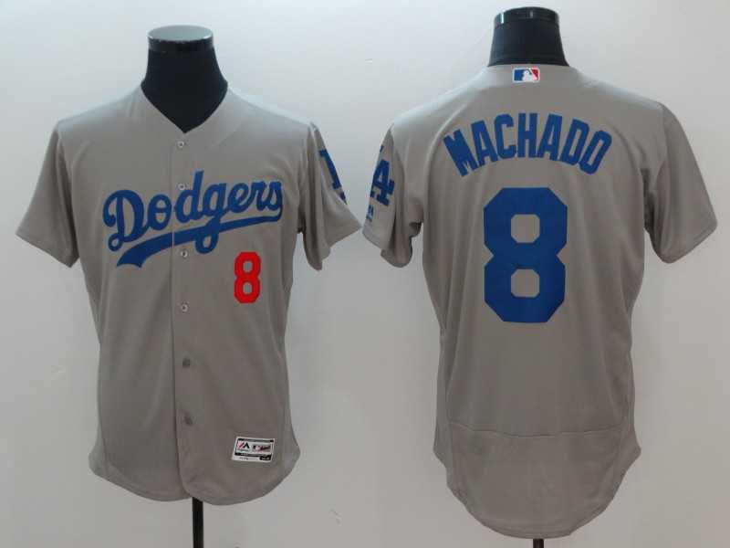 Men's Dodgers 8 Manny Machado Gray Embroidered Jersey