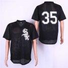 Men's White Sox 35 Frank Thomas Black Mesh Embroidered Jersey