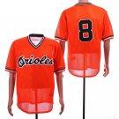 Men's Orioles 8 Cal Ripken Jr Orange Mesh Throwback Embroidered Jersey