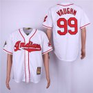 Men's Indians 99 Ricky Vaughn White Cooperstown Embroidered Jersey