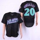 Men's Diamondbacks 20 Luis Gonzalez Black Mesh BP Embroidered Jersey