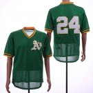 Men's Athletics 24 Rickey Henderson Green Mesh Throwback Embroidered Jersey