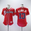 Men's Braves 13 Ronald Acuna Jr. Red Embroidered Jersey