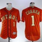 Men's Astros 1 Carlos Correa Orange 2018 Gold Program Embroidered Jersey