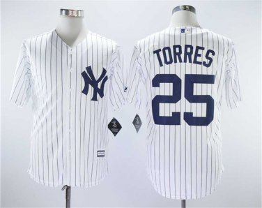 info for f5e9f 1b56f Men's Yankees 25 Gleyber Torres White Embroidered Jersey