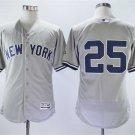 Men's Yankees 25 Gleyber Torres Gray Embroidered Jersey