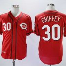Men's Reds 30 Ken Griffey Jr Red Throwback Embroidered Jersey