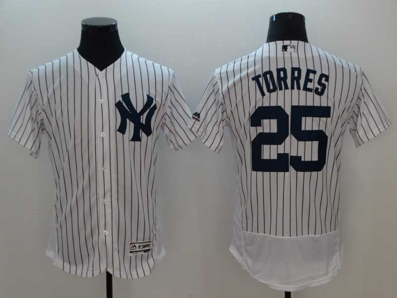 Men's Yankees 25 Gleyber Torres White Embroidered Jersey