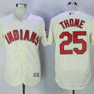 Men's Indians 25 Jim Thome Cream Embroidered Jersey