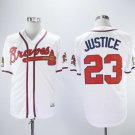Men's Braves 23 David Justice White 1993 Throwback Embroidered Jersey
