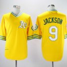 Men's Athletics 9 Reggie Jackson Yellow  Copperstown Embroidered Jersey