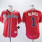 Men's Braves 1 Ozzie Albies Red Embroidered Jersey