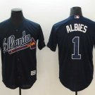 Men's Braves 1 Ozzie Albies Navy Embroidered Jersey