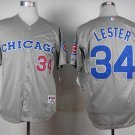 Men's Cubs 34 Jon Lester Gray Throwback Embroidered Jersey