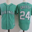 Men's Seattle Mariners #24 Ken Griffey Green Embroidered Jersey