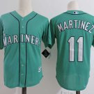 Men's Seattle Mariners #11 Martinez Green Embroidered Jersey