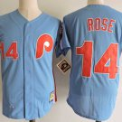 Men's Philadelphia Phillies #14 Pete Rose Blue Cooperstown Embroidered Jersey