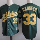 Men's Oakland Athletics #33 Jose Canseco Green M&N Throwback Embroidered Jersey