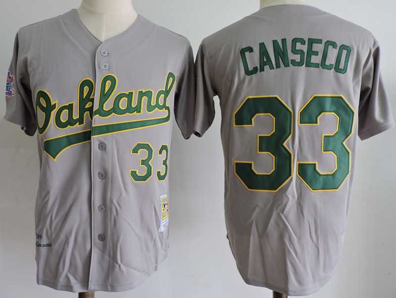 Men's Oakland Athletics #33 Jose Canseco Gray M&N Throwback Embroidered Jersey