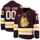 UMD Bulldogs 0 Custom Your Name Away Red Hockey Stitched Hockey Jersey