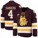 UMD Bulldogs 4 Dylan Samberg Away Red Hockey Stitched Hockey Jersey