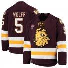 UMD Bulldogs 5 Nick Wolff Away Red Hockey Stitched Hockey Jersey