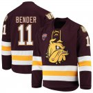 UMD Bulldogs 11 Koby Bender Away Red Hockey Stitched Hockey Jersey