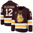 UMD Bulldogs 12 Jarod Hilderman Away Red Hockey Stitched Hockey Jersey