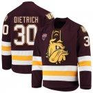 UMD Bulldogs 30 Andrew Dietrich Away Red Hockey Stitched Hockey Jersey