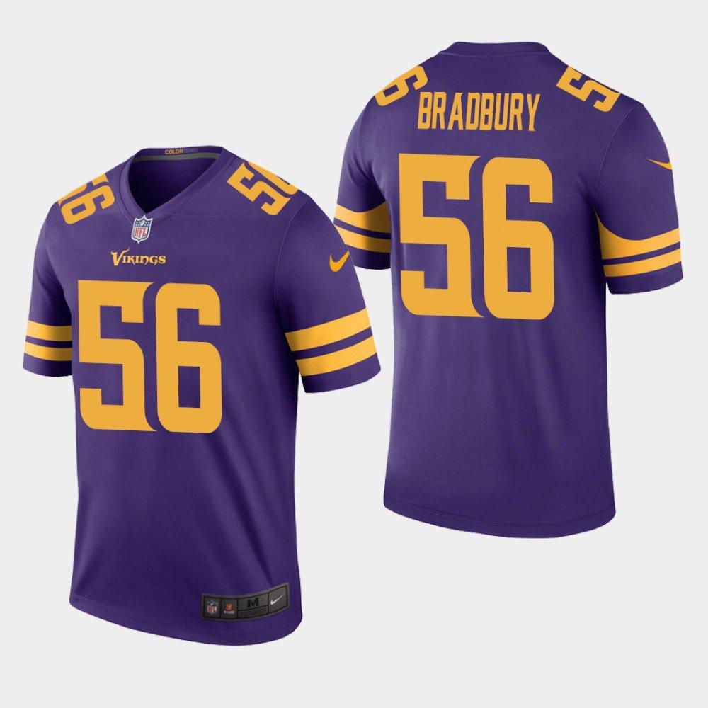 Men's 2019 Minnesota Vikings #56 Garrett Bradbury Rush Legend Purple Jersey
