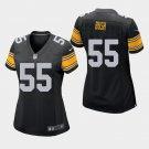 Women's 2019 Pittsburgh Steelers #55 Devin Bush Game Black Jersey