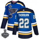 Chris Thorburn Men's Blues Royal Home Blue 2019 Stanley Cup Final Stitched Jersey