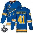Men's Blues #41 Robert Bortuzzo Blue Alternate 2019 Stanley Cup Final Stitched Jersey