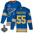 Men's Blues #55 Colton Parayko Blue Alternate 2019 Stanley Cup Final Stitched Jersey