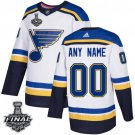 Men's Blues Customized White 2019 Stanley Cup Final Stitched Jersey