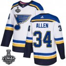 Men's Blues #34 Jake Allen White 2019 Stanley Cup Final Stitched Jersey