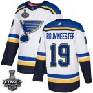 Men's Blues #19 Jay Bouwmeester White 2019 Stanley Cup Final Stitched Jersey
