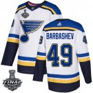 Men's Blues #49 Ivan Barbashev White 2019 Stanley Cup Final Stitched Jersey