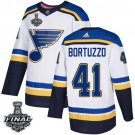 Men's Blues #41 Robert Bortuzzo White 2019 Stanley Cup Final Stitched Jersey